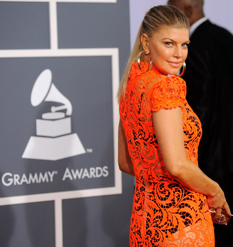 Fergie orange lace see through dress 2012 Grammy Awards