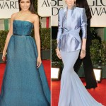 Freida Pinto blue Prada Dress Tilda Haider Ackermann 2012 Golden Globes