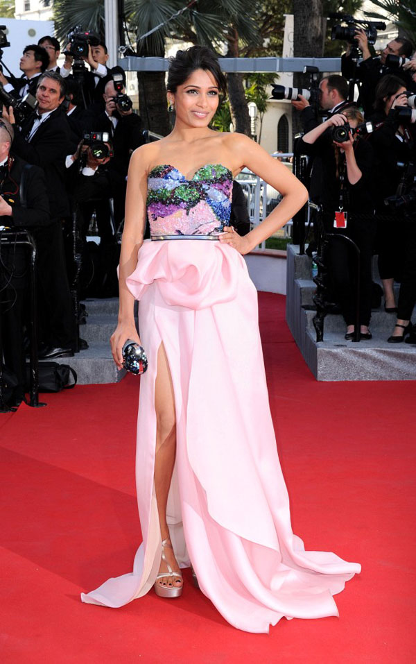 Freida Pinto leg slit Michael Angel dress Cannes 2012 Red Carpet