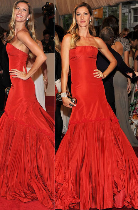 Gisele Bundchen red McQueen dress Met ball 2011