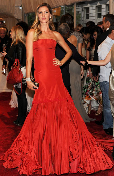 Gisele Bundchen red dress Met Gala 2011