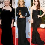 Glenn Close Jane Lynch Julianne Moore 2012 Golden Globes black dresses