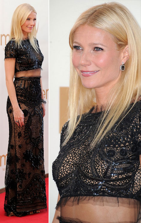 Gwyneth Paltrow cropped top black Pucci dress 2011 Emmys