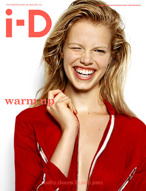 Hailey Clauson laughing on the cover of i D Magazine