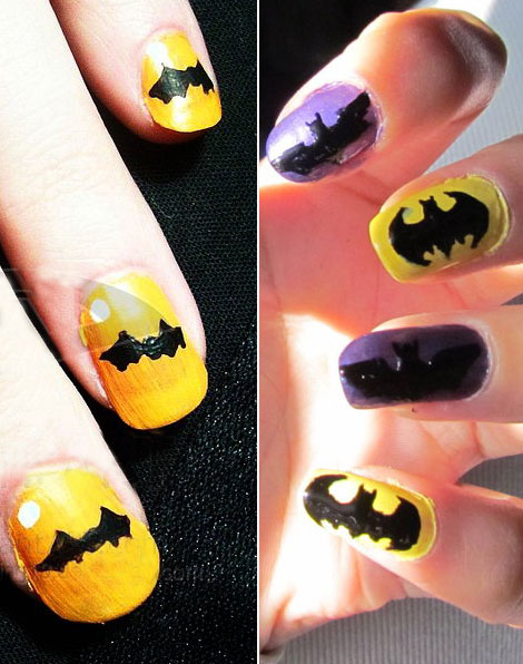 Halloween bats and Batman manicure