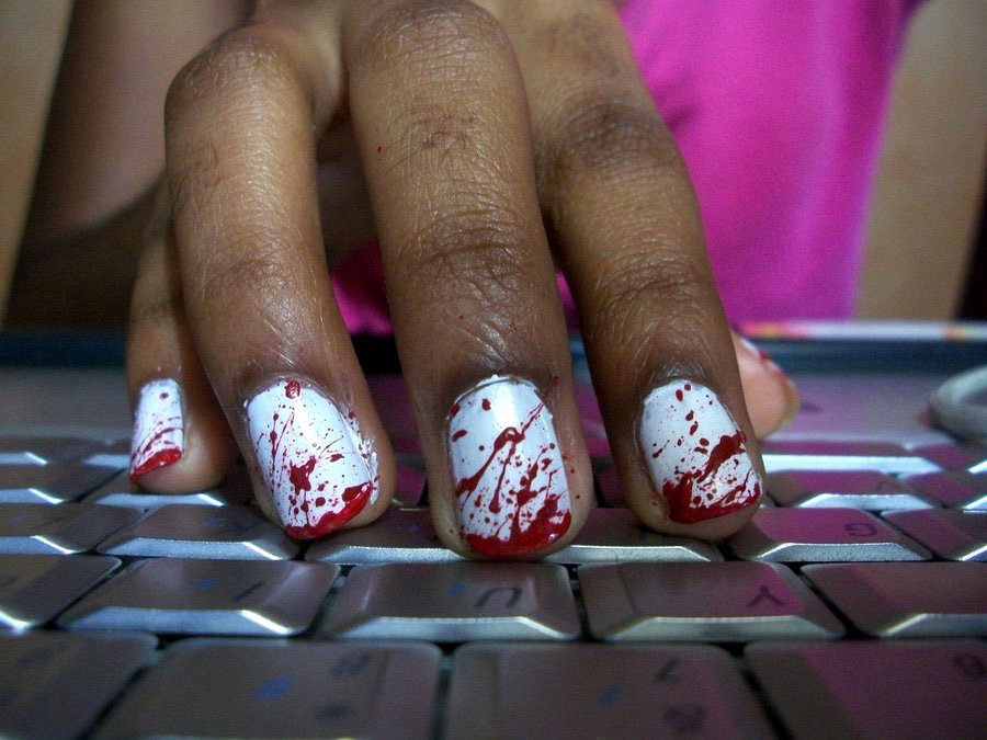 Halloween bloody nails