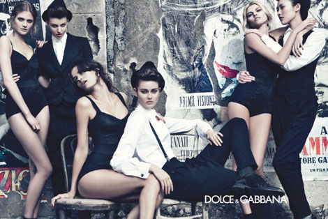 Handful of models half undressed for Dolce and Gabbana ads
