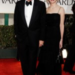 Harrison Ford with wife Calista Flockhart in black dress 2012 Golden Globes