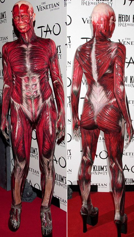 Heidi Klum amazing Anatomy costume for Halloween