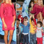 Heidi Klum in pink with pink hair for children collection launch