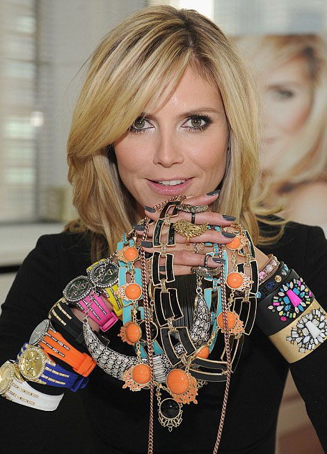 Heidi Klum showing her new jewelry collection