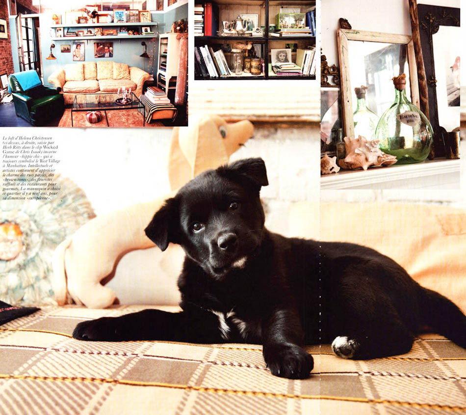 Helena Christensen house and puppy