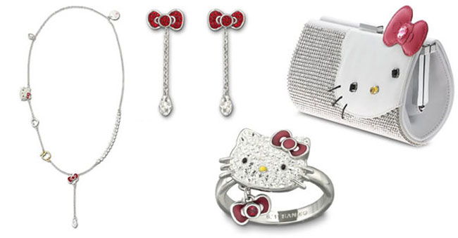 Hello Kitty Swarovski ring necklace earrings clutch