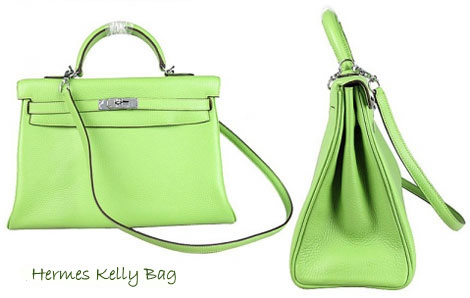 Hermes Kelly Green leather bag