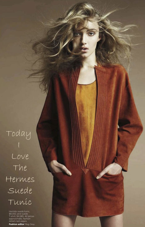 Hermes orange suede Tunic
