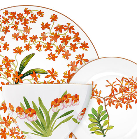 Hermes Plates Jardin des Orchidees