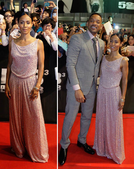 Jada Pinkett Smith wide leg jumpsuit Will Smith MiB premiere