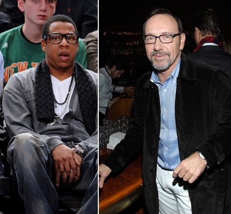 Jay Z Kevin Spacey wearing black rimmed glasses