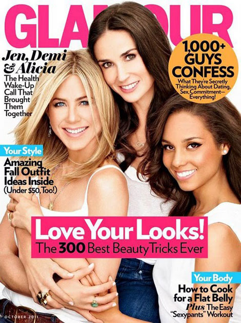 Alicia Keys, Jennifer Aniston, Demi Moore Do Glamour October 2011