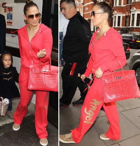 Jennifer Lopez Pairs Her Hot Pink Tracksuit With Pink Hermes Birkin