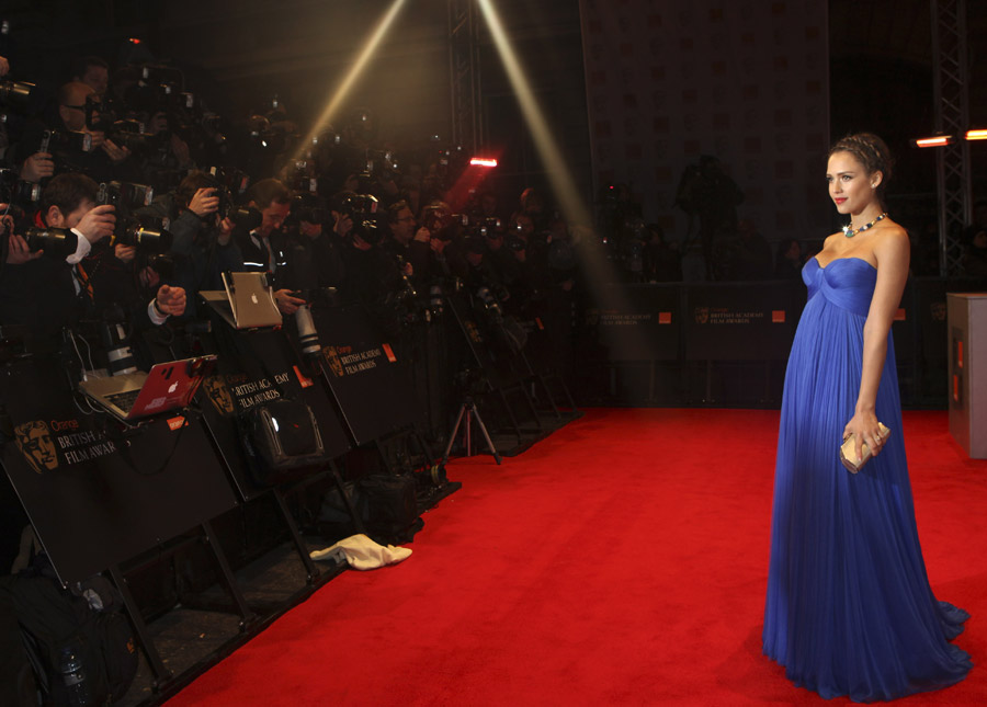 Jessica Alba Atelier Versace blue dress 2011 Bafta Awards 1