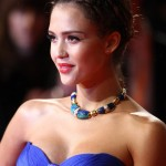 Jessica Alba Atelier Versace blue dress 2011 Bafta Awards 2