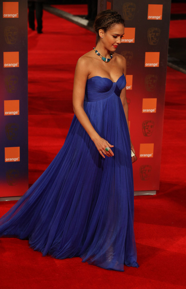 Jessica Alba Atelier Versace blue dress 2011 Bafta Awards 3