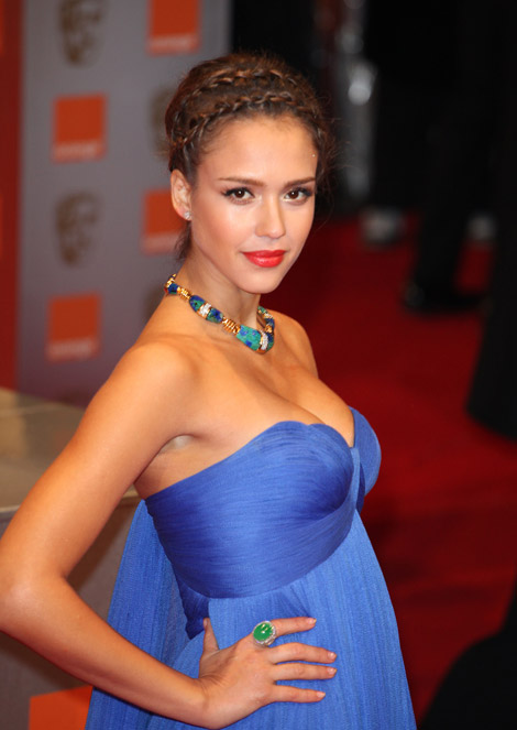 Jessica Alba Atelier Versace blue dress 2011 Bafta Awards