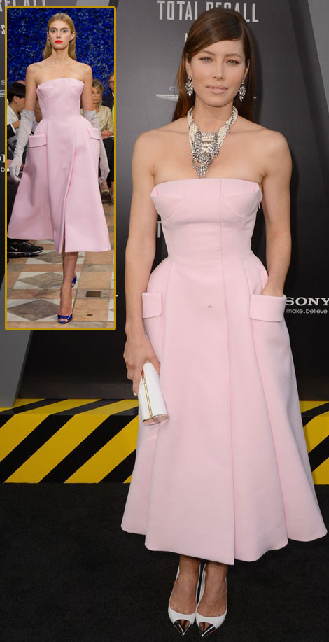Jessica Biel Dior Couture pink dress Total Recall premiere