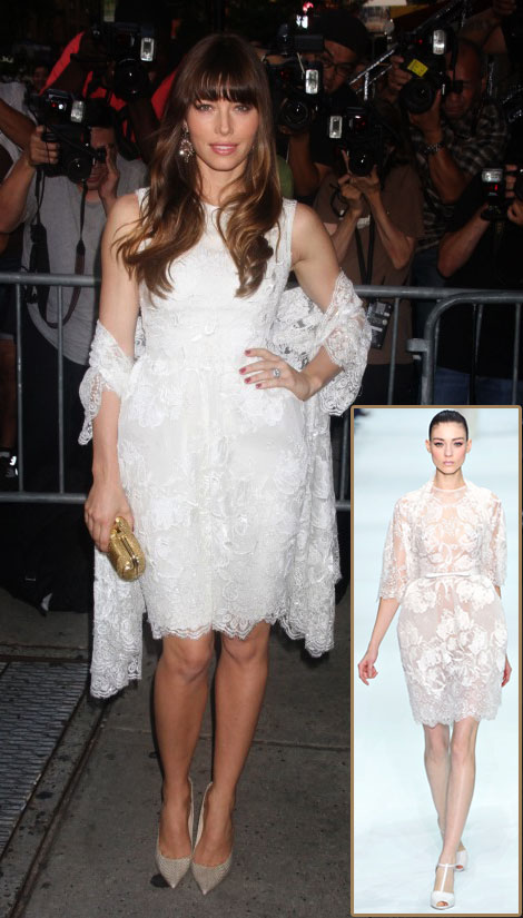 Jessica Biel Bridal Elie Saab White Dress Total Recall Premiere