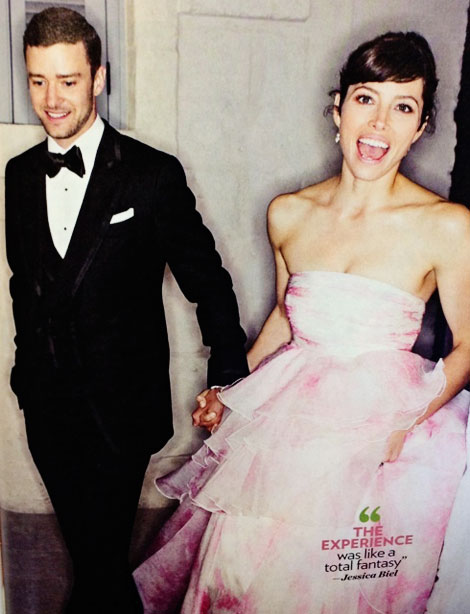 Jessica Biel Justin Timberlake wedding Jessica wore pink bride dress
