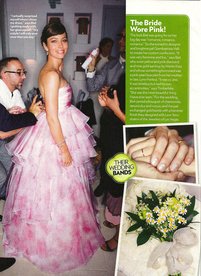 Jessica Biel pink wedding dress wedding bouquet wedding ring