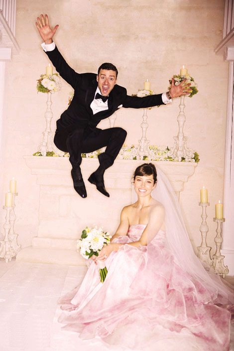 Jessica Biel s Giambattista Valli pink wedding dress