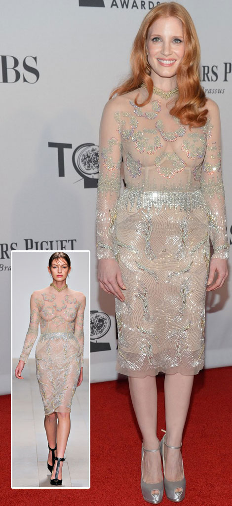 Jessica Chastain Marios Schwab see through dress Tony Awards