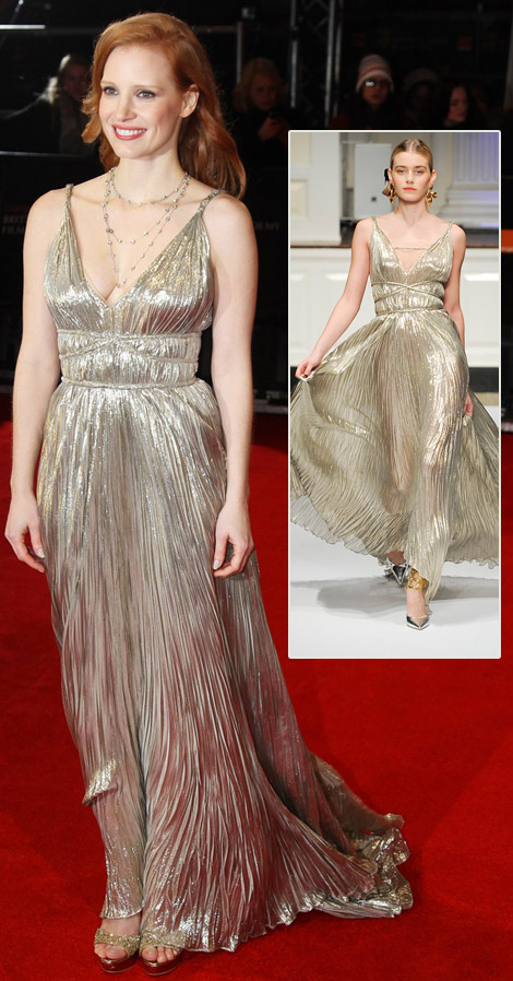 Jessica Chastain's Oscar De La Renta Silver Dress For 2012 BAFTA Awards