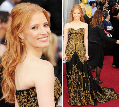 Jessica Chastain black Alexander McQueen dress 2012 Oscars