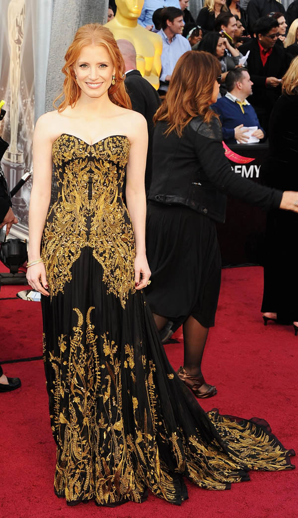 Jessica Chastain black dress with golden embroidery dress 2012 Oscars
