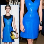 Jessica Chastain in black and blue Jason Wu leather dress