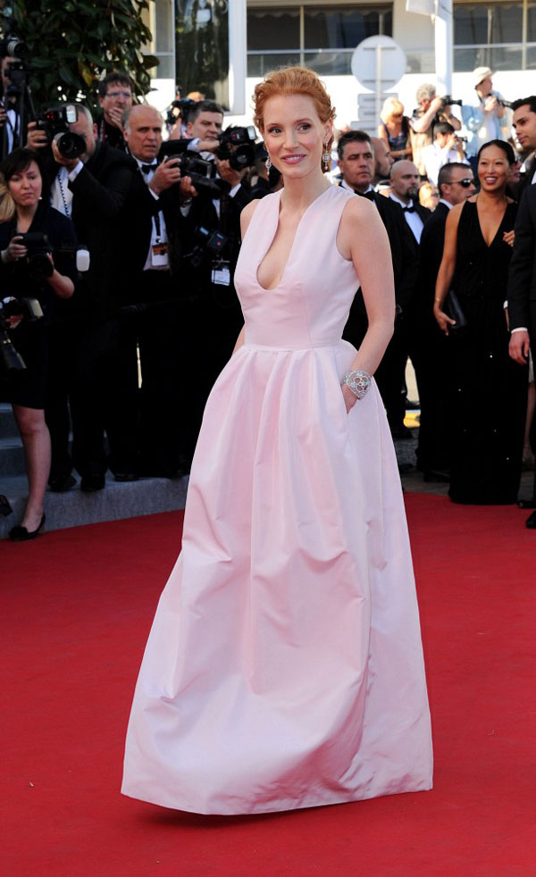 Jessica Chastain pale pink Alexander McQueen pockets dress Cannes 2012 Red Carpet