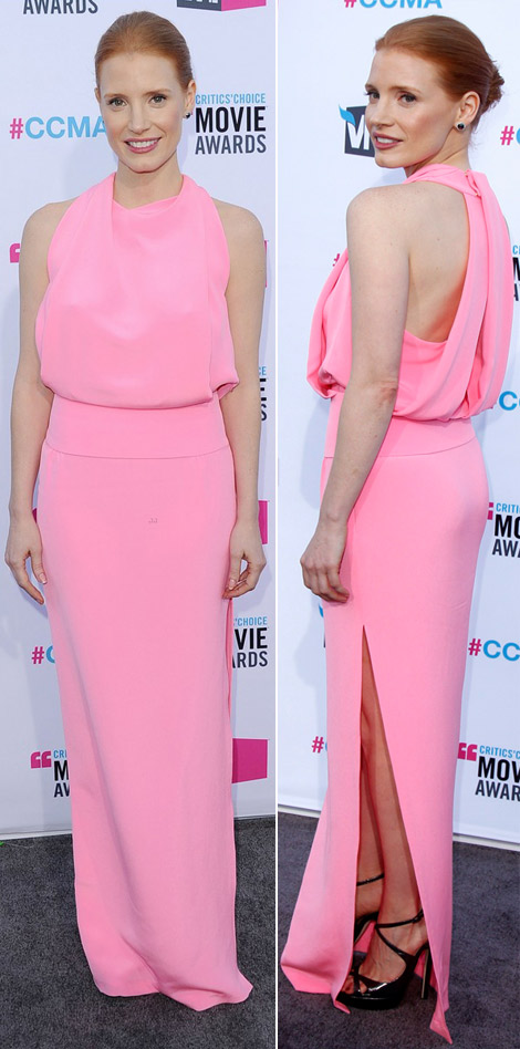 Jessica Chastain soft pink dress 2012 Critics Choice Awards