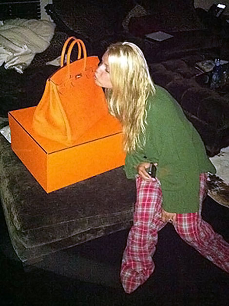 Jessica Simpson big orange Hermes Birkin Bag