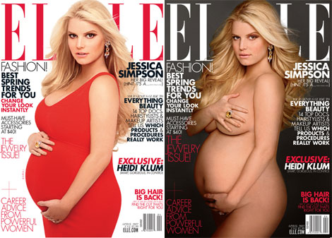 Jessica Simpson pregnant cover Elle April 2012