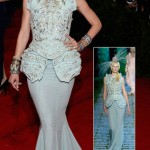 Jessica Stam Dior Couture light blue dress Met Gala 2012