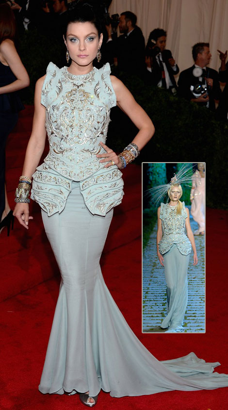 Models At Met Gala 2012: Jessica Stam Light Blue Dior Couture Dress