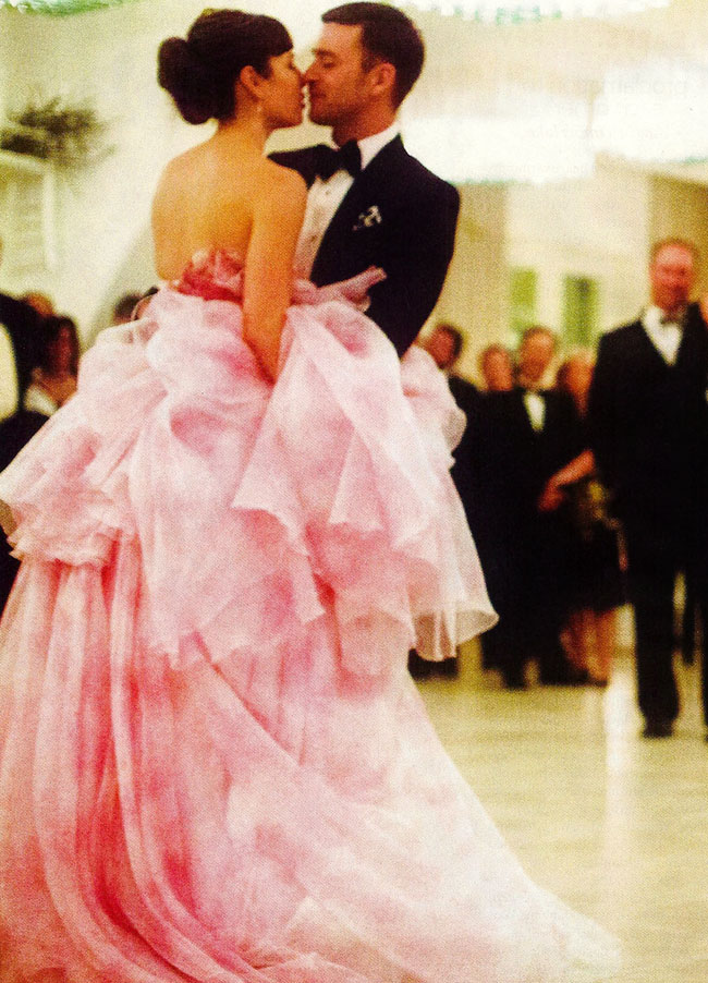 Here's Jessica Biel's Giambattista Valli Pink Wedding Dress!