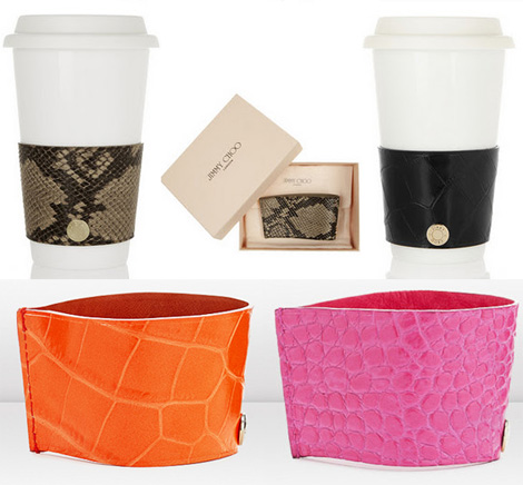 Jimmy Choo leather coffee cup sleeves