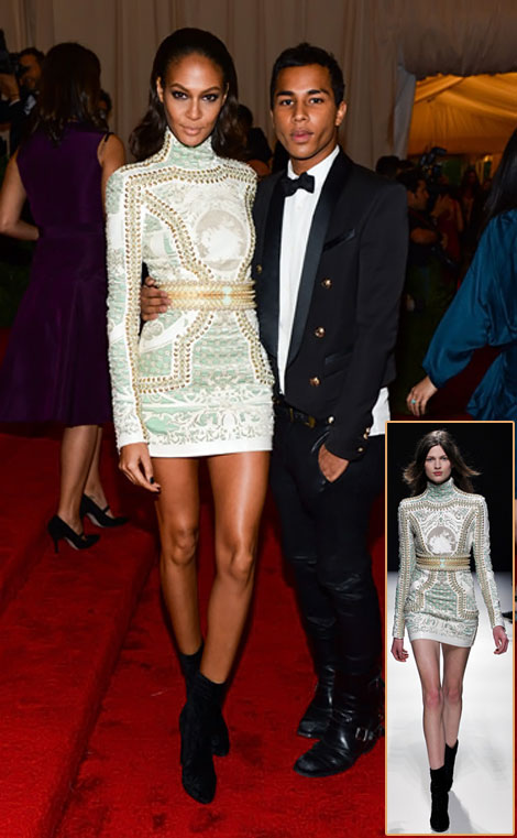 Joan Smalls Balmain short white dress Met Gala 2012