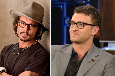 Johnny Depp Justin Timberlake black rimmed glasses