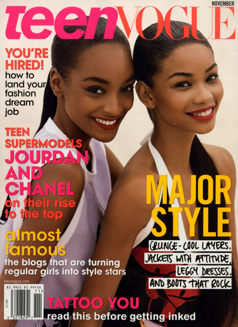 Jourdan Dunn Chanel Iman Teen Vogue November 2009 cover