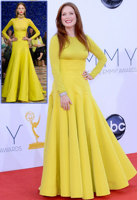 Julianne Moore Christian Dior Yellow Dress Emmy Awards 2012